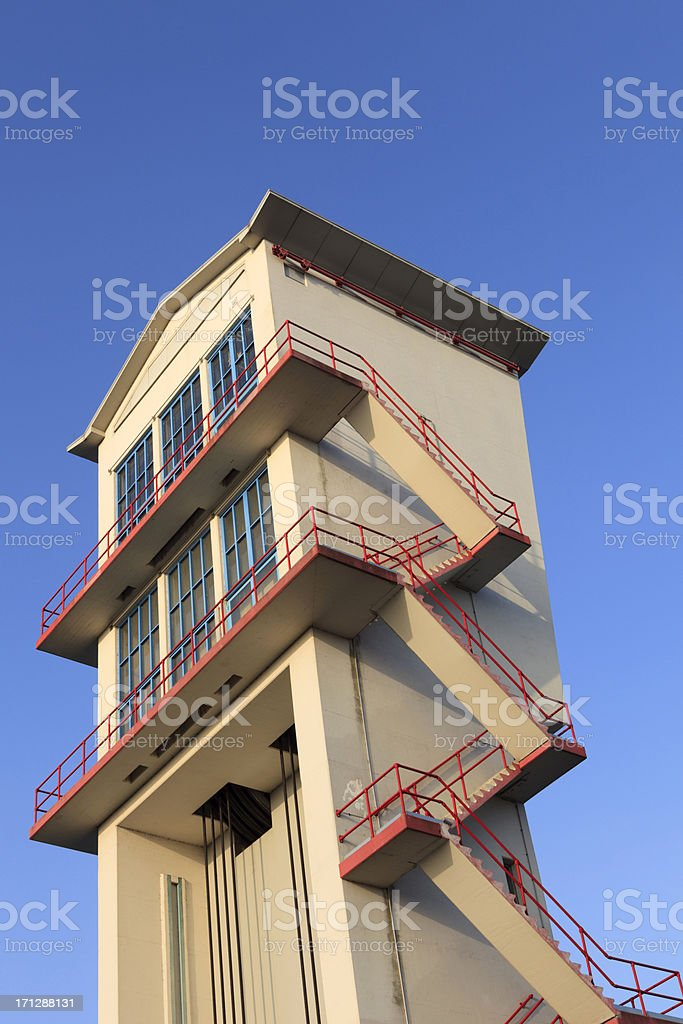 tower of the Hollandse IJssel Storm Surge Barrier stock photo