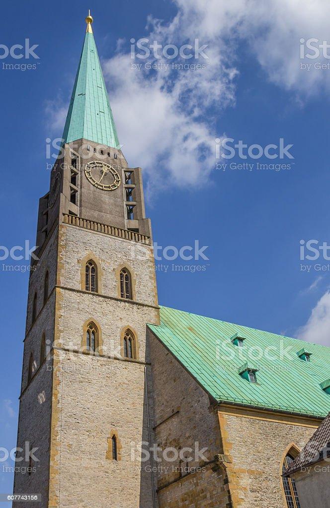 Tower of the Nikolai church in Bielefeld stock photo