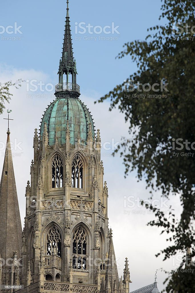 tower of the Notre Dame Cathedral at Bayeux stock photo