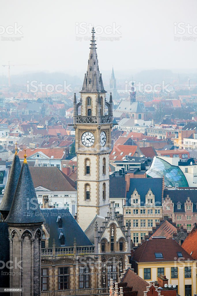 Tower of the Old Post Building in Ghent, Flanders, Belgium stock photo