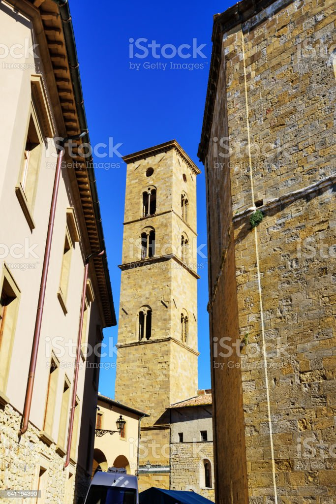 Tower of the Palazzo Pretorio, Volterra, Italy stock photo