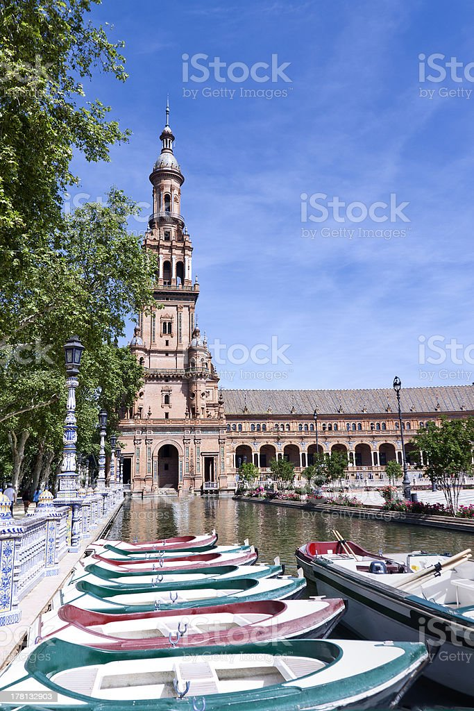 Tower of the plaza de Espana in Seville stock photo