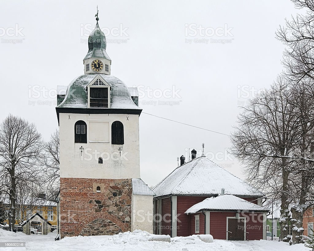 Tower of the Porvoo Cathedral, Finland royalty-free stock photo