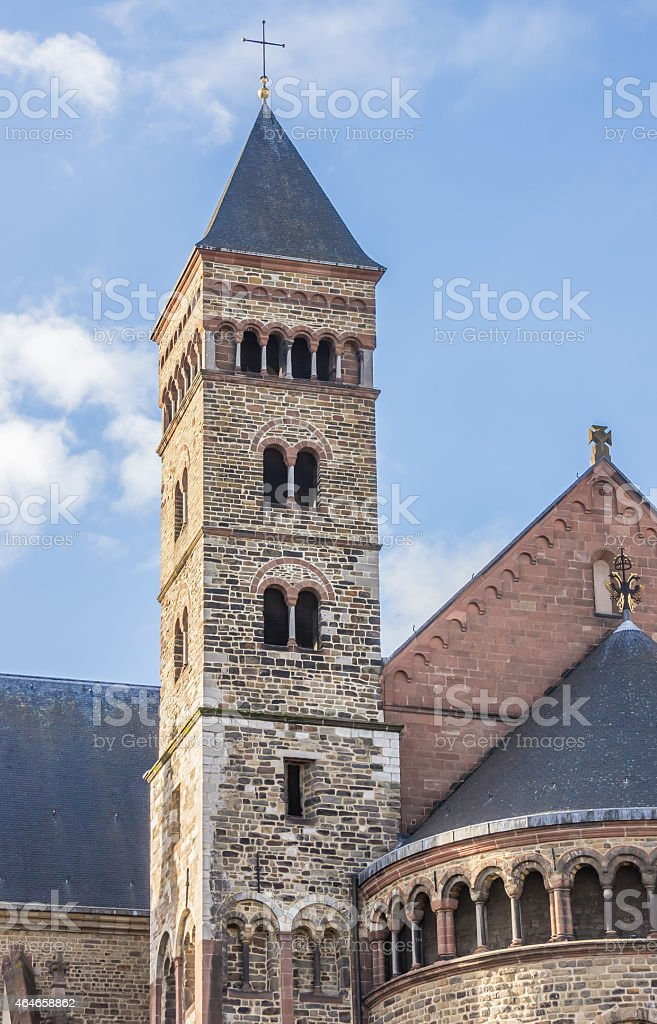 Tower of the Saint Servatius Church in Maastricht stock photo