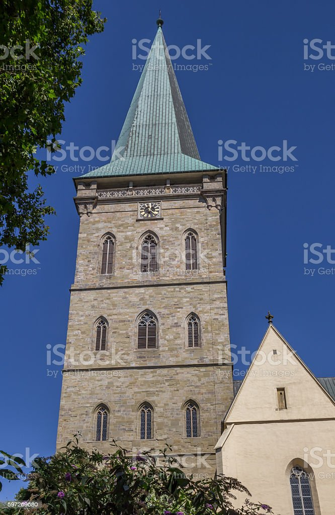 Tower of the St. Katharinen church in Osnabruck stock photo