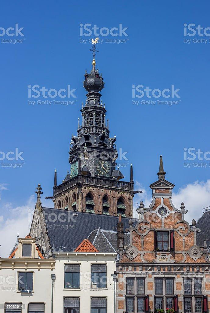 Tower of the Stevens church in Nijmegen stock photo