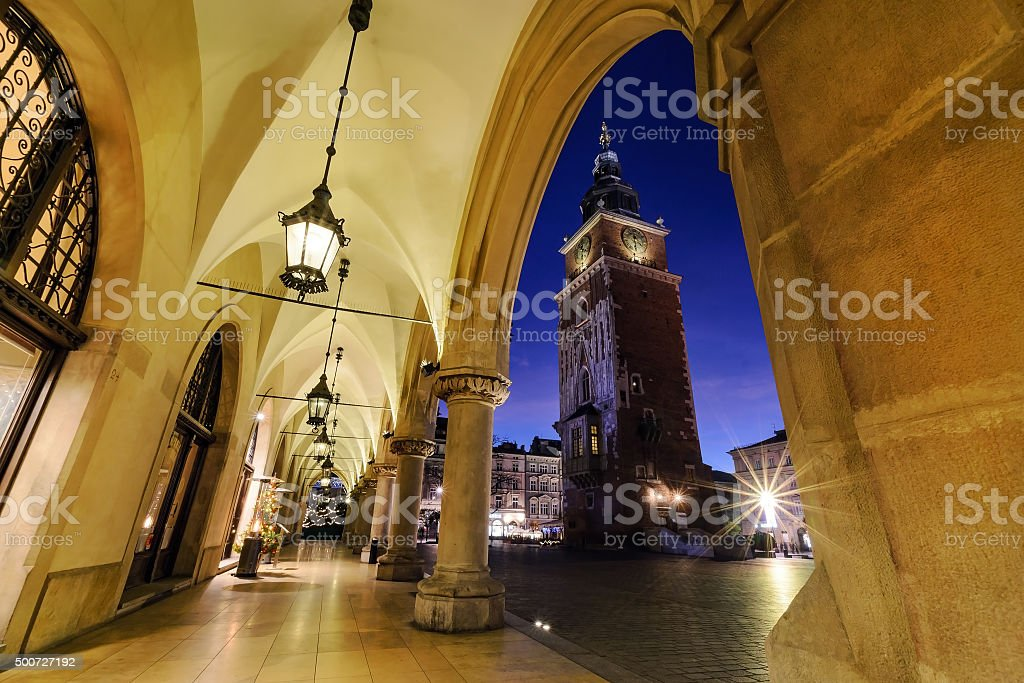 Tower of the Town Hall decorated by the christmas lights. stock photo