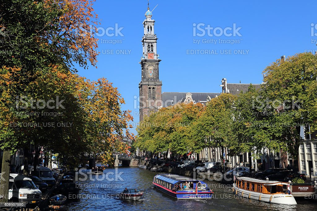 Tower of the Westerkerk church in Amsterdam, Holland stock photo