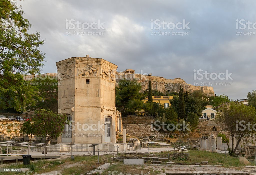 Tower of the Wind-gods in Roman Agora and Acropolis stock photo