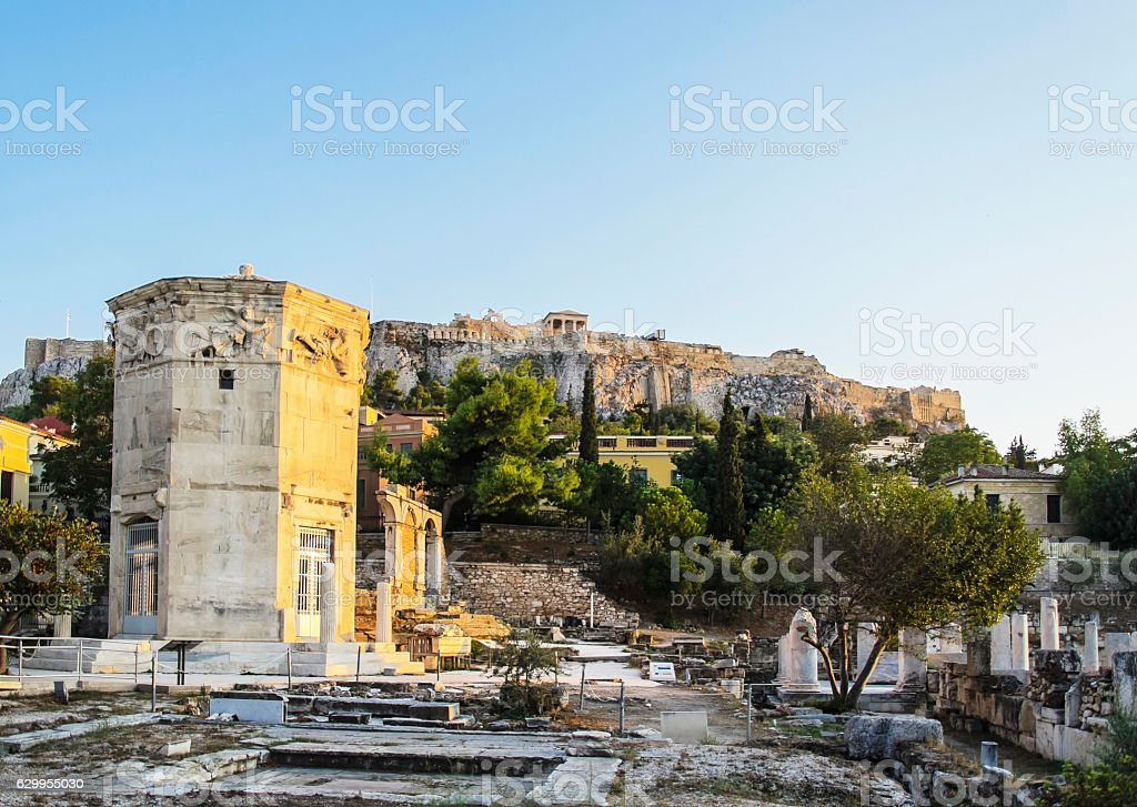 Tower of the Winds and Acropolis view, Athens, Greece stock photo