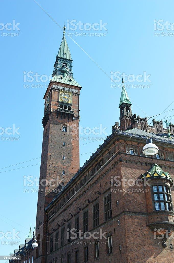 Torre del ayuntamiento copenaghen foto de stock libre de derechos