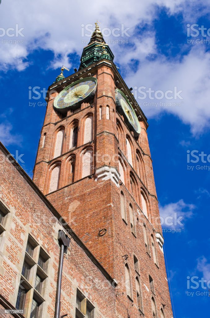 Tower of town hall in Gdansk, Poland stock photo