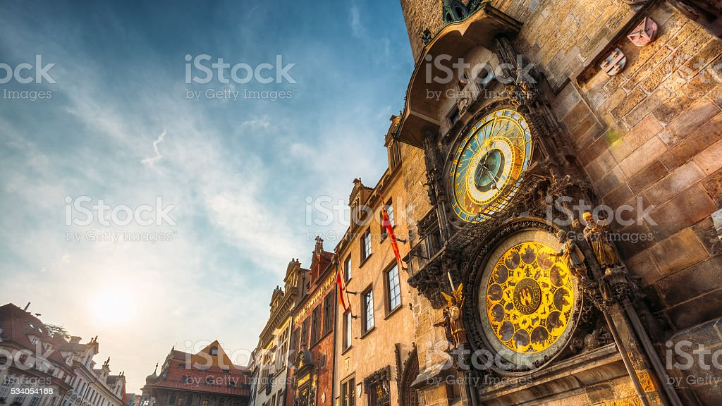 Tower of town hall in Prague, Czech Republic. stock photo