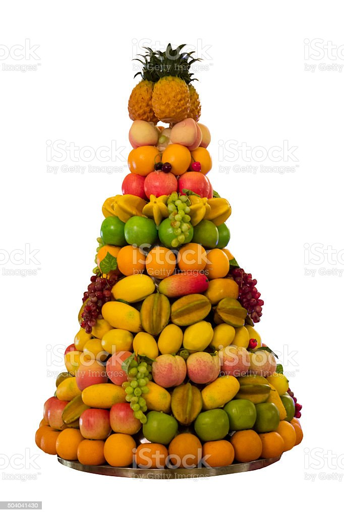 Tower of various fresh fruits stock photo