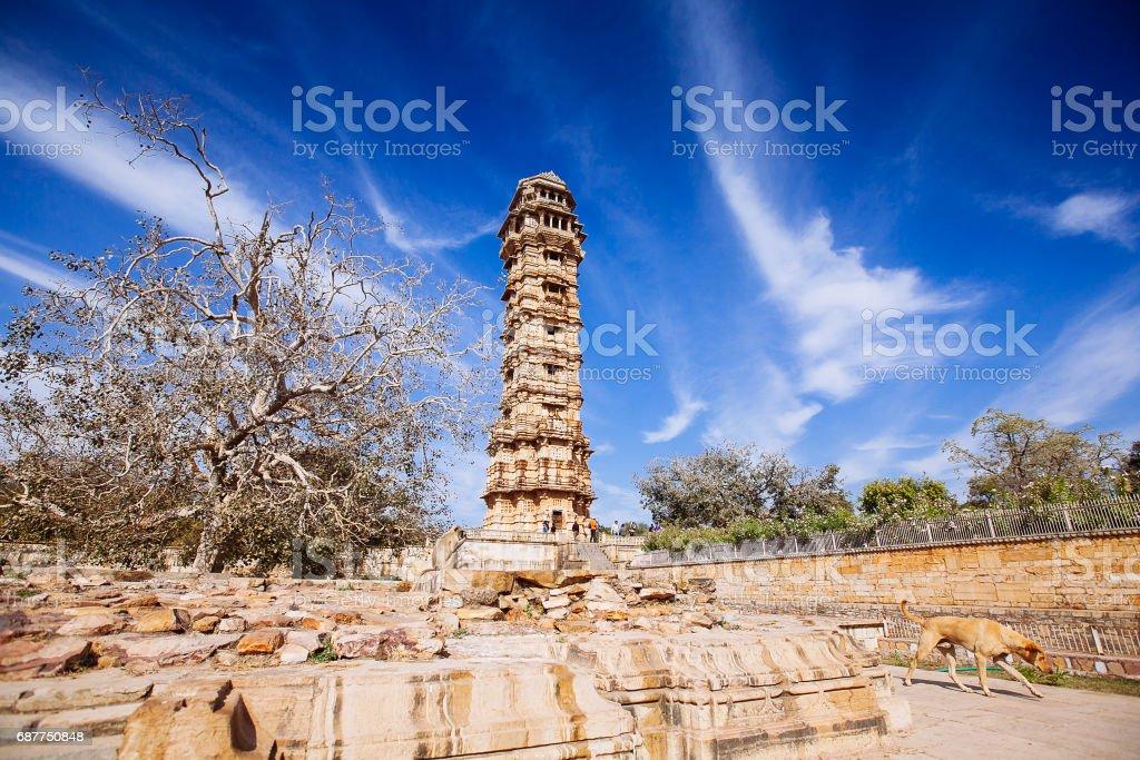 Tower of Victory (Vijay Stambha) in Chittor fort. Chittorgarh stock photo