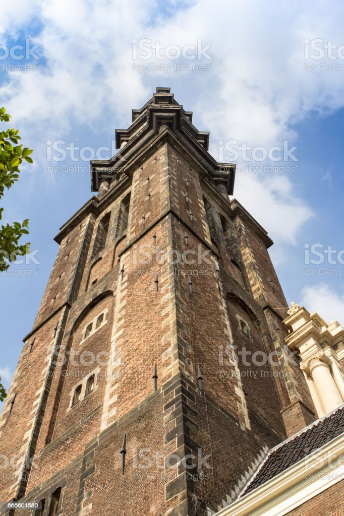Tower of Westerkerk in  Amsterdam stock photo