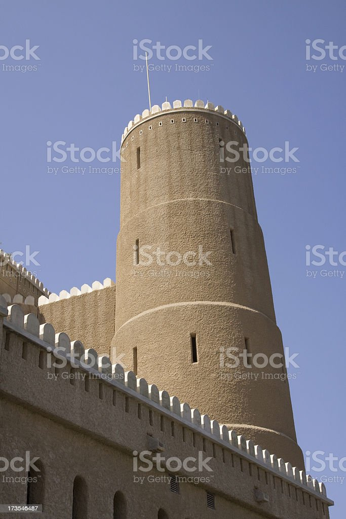 Tower on Al Mirani Fort, old muscat royalty-free stock photo