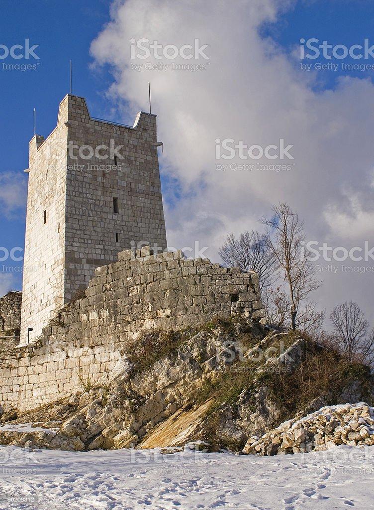 Tower on Anacopian mountain, New Athos, Abkhazia stock photo