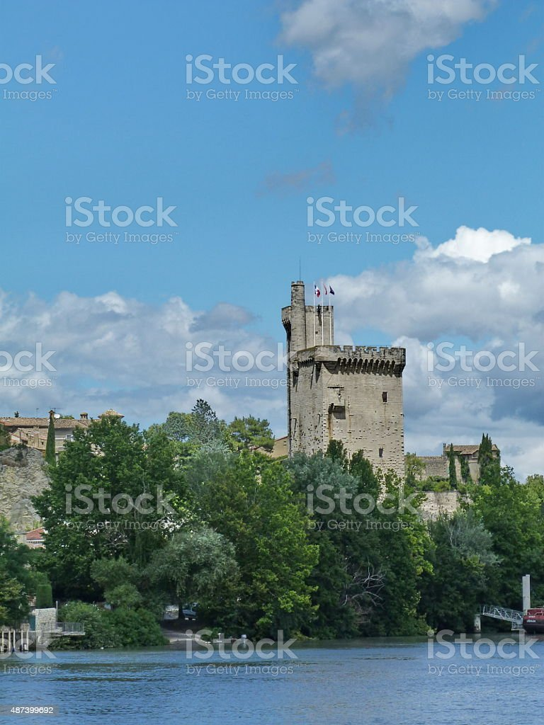 Tower on the banks of the Rhone stock photo