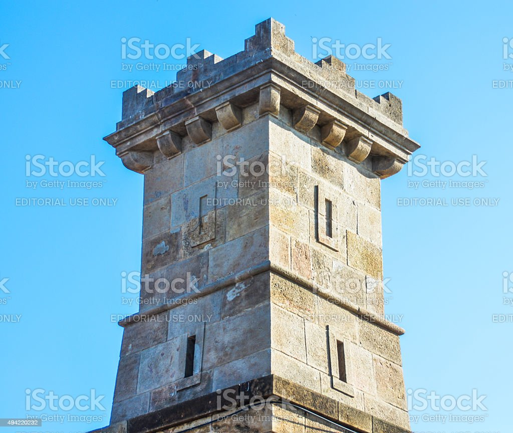 Tower on top of Montjujic hill in Barcelona, Spain stock photo