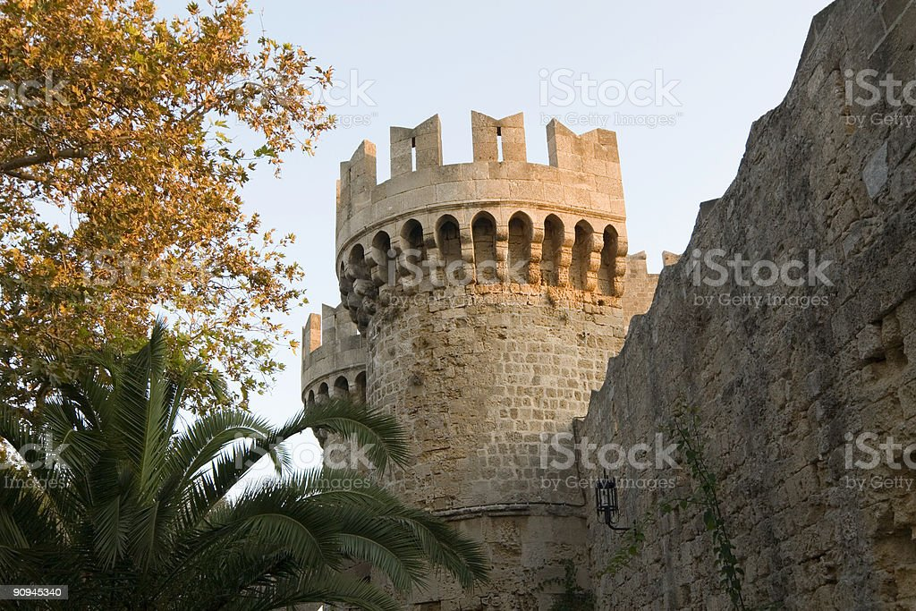 Tower on wall surrounding Rhodes Old City stock photo