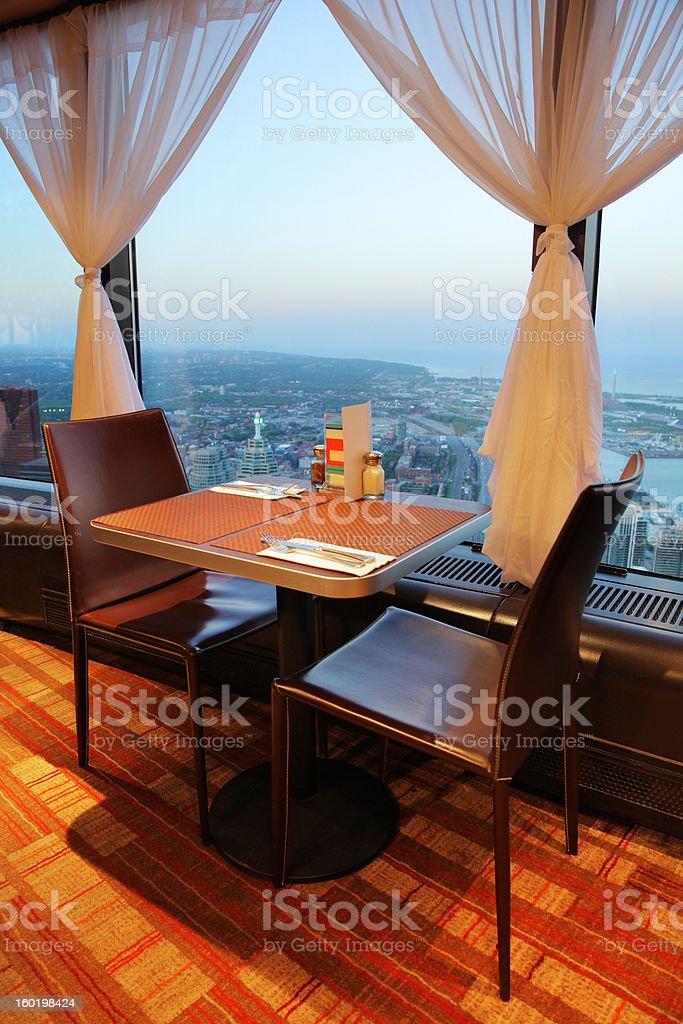CN Tower Restaurant View on Toronto City stock photo