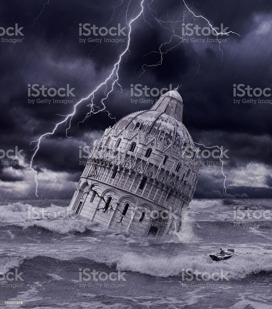 Tower sinking in apocalyptic flood and storm stock photo