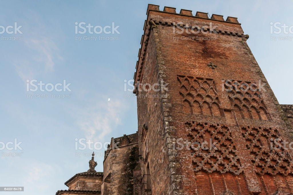 Tower to the stone castle. Aracena. Huelva. Spain stock photo