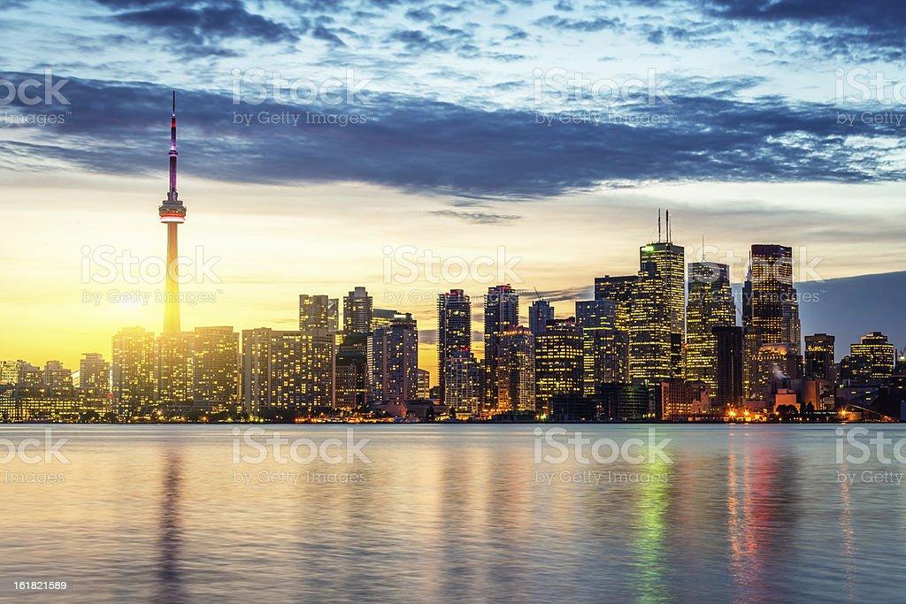 CN Tower Toronto Skyline Summer Sunset stock photo