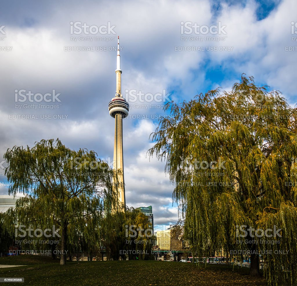 CN Tower viewed from Harbourfront - Toronto, Canada stock photo