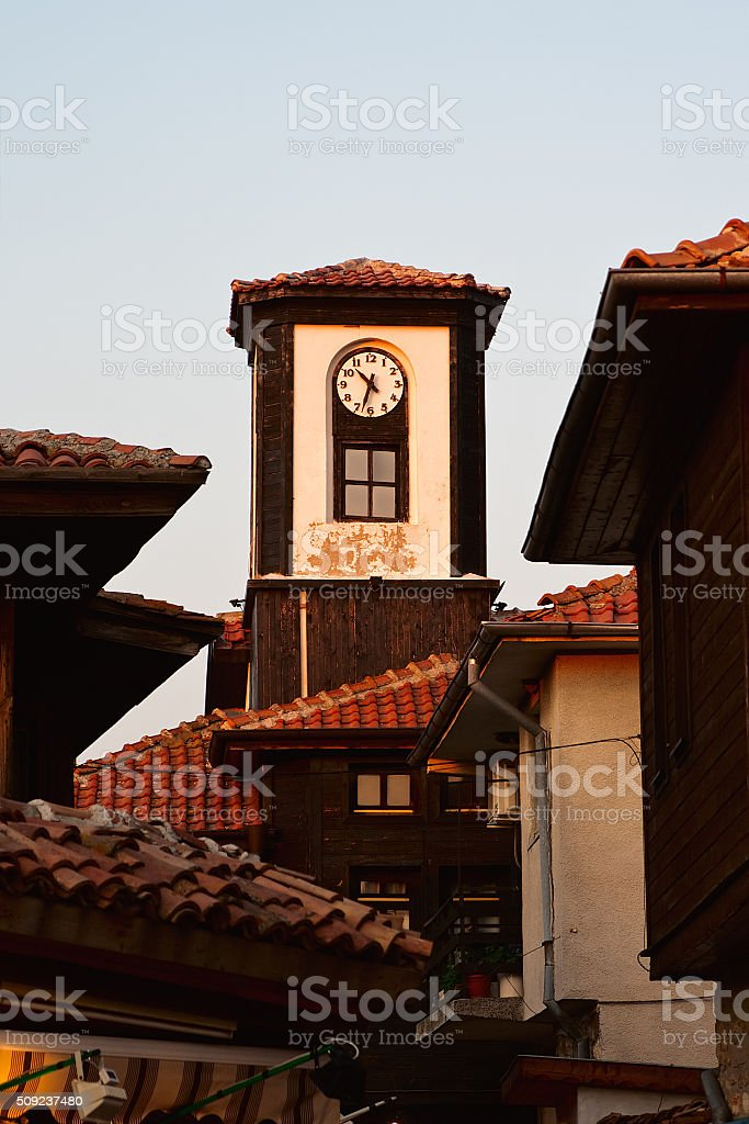 Tower with a clock. Bulgaria. Nessebar. stock photo