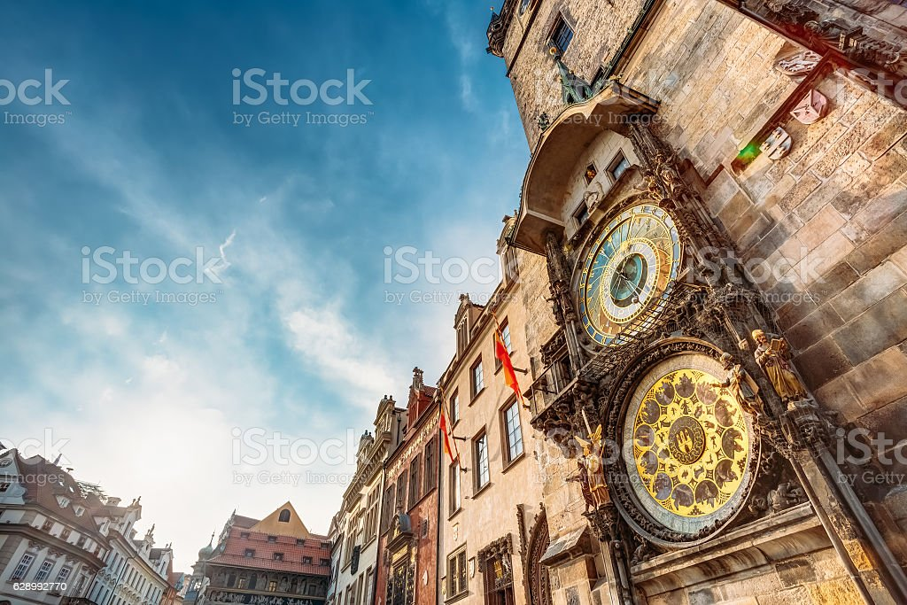 Tower With Astronomical Clock - Orloj In Prague, Czech Republic stock photo
