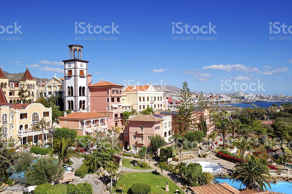 Tower with clock at luxury hotel, Tenerife island, Spain stock photo