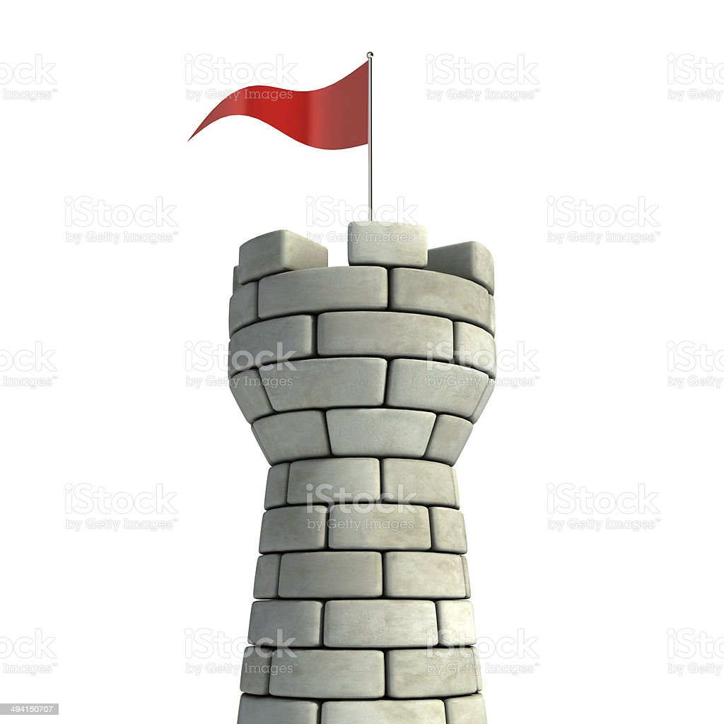 tower with flag 3d illustration stock photo