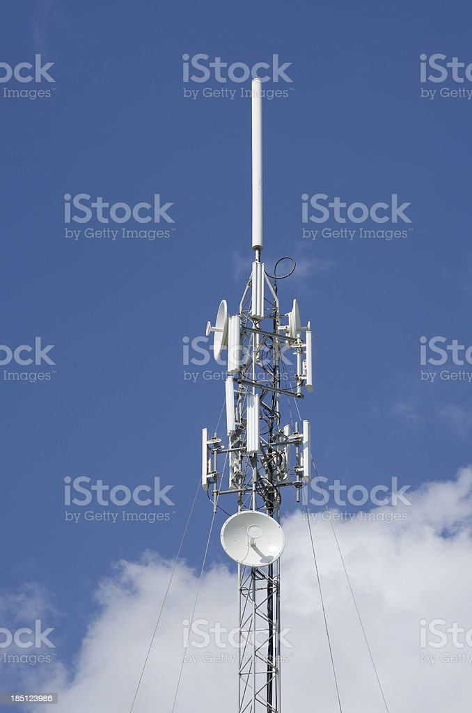 Tower with various radio and internet network aerials royalty-free stock photo