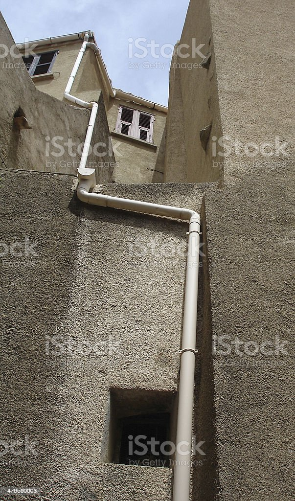 Tower-house gutter stock photo