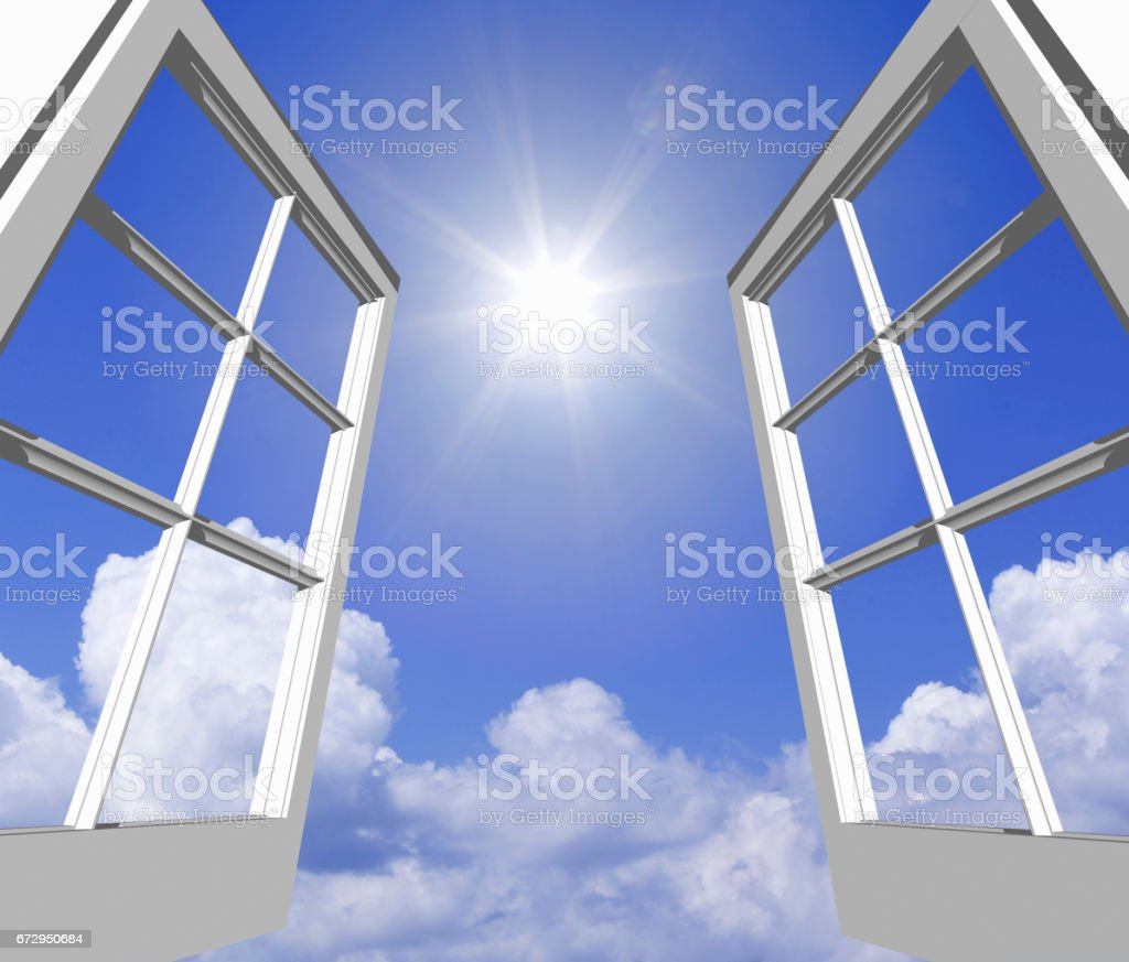 Towering cloud in summer and light from the window. stock photo