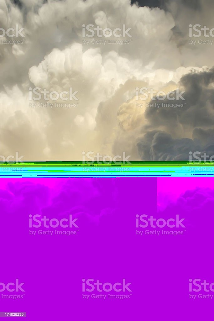 Towering thunderstorm clouds directly overhead threatens severe weather stock photo