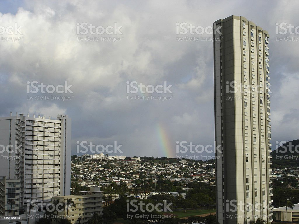 Towers and Rainbow royalty-free stock photo