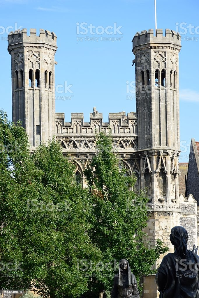 Towers at Entrance of St Augustines abbey canterbury stock photo