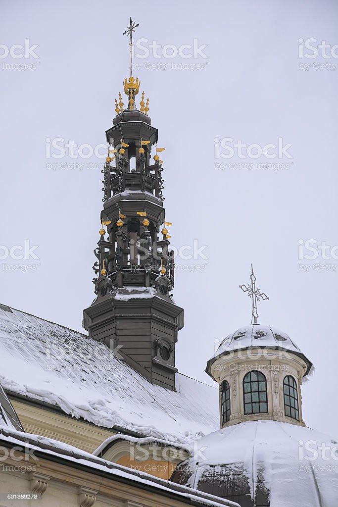 towers at Jasna Gora Monastery stock photo