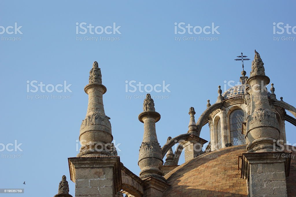 Towers, domes and lantern, Cathedral of Sevilla stock photo