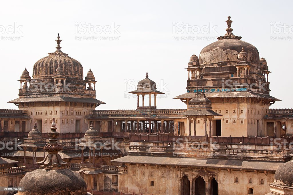 Towers forming part of a sixteenth century Indian palace stock photo