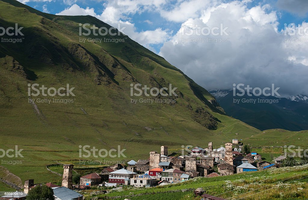Towers in mountain village stock photo