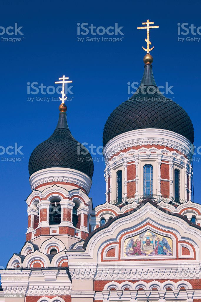 Towers of Alexander Nevsky cathedral stock photo