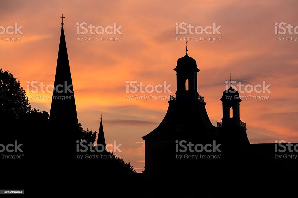 towers of bonn germany evening sundown background stock photo