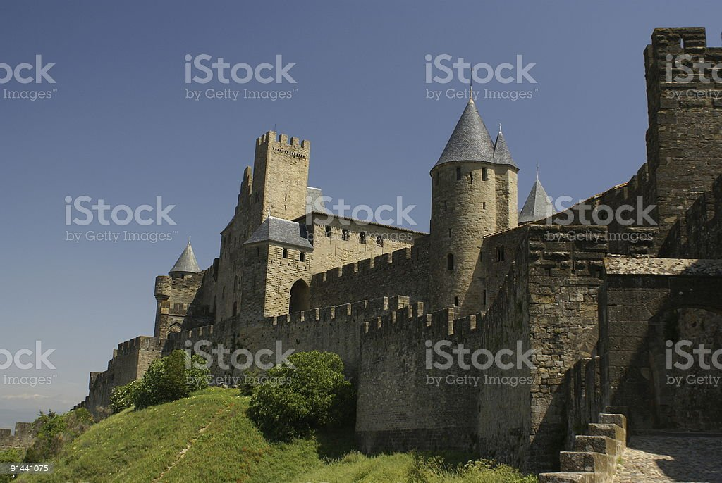 Towers of Carcassonne castle royalty-free stock photo