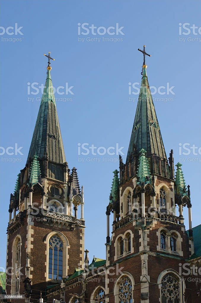 Towers of Church of St. Elisabeth stock photo