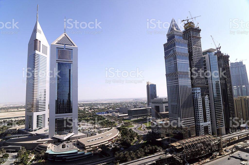 towers of dubai stock photo