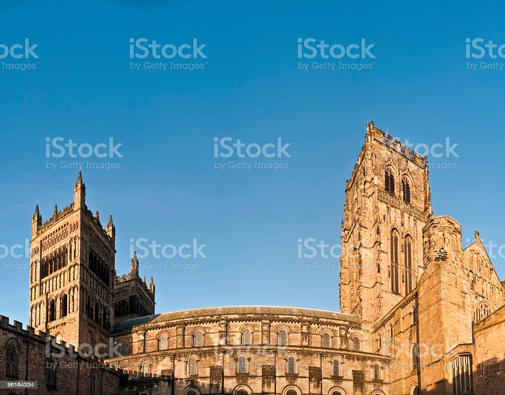 Towers of Durham Cathedral from the cloisters royalty-free stock photo